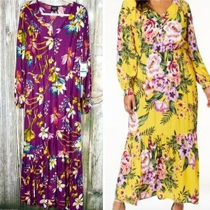 eci floral tropical maxi dress long sleeve NWT